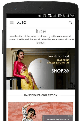 AJIO Online Shopping App 2016